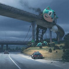 Offering us a chilling alternative to the country that we know so well illustrator Simon Stålenhag imagines what a post-apocalyptic USA might have looked like Arte Sci Fi, Sci Fi Art, Arte Horror, Horror Art, Dark Fantasy, Fantasy Art, Fantasy Dragon, Art Sinistre, Art Science Fiction