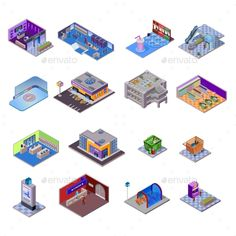Shopping Mall Objects Set