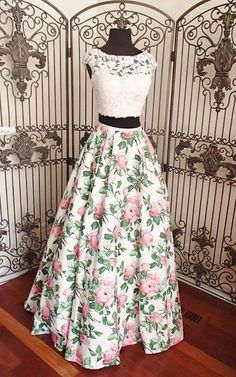 A Line Ivory Pink Print Beaded Lace Two Piece Long Prom Dress