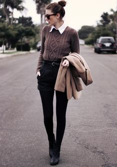 brown sweater + black high waisted shorts + ankle boots + beige blazer + white shirt + black tights