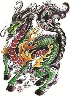 My Little Dragon by Joe Kowalski Kirin Pony Tattoo Canvas Art Print – moodswingsonthenet