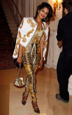 M.I.A. 2012 in A Vintage #Versace Couture from the Spring/Summer 1992 collection.
