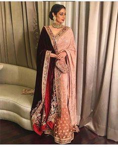 Sridevi: 2016 Blush pink saree with velvet Shawl Sabyasachi Sarees, Indian Sarees, Lehenga Choli, Anarkali, Velvet Saree, Velvet Shawl, Indian Fashion Trends, Asian Fashion, Mature Fashion