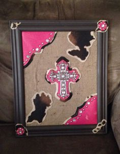 Upcycled burlap and from purse cross and accents picture wall hanging.  By Upcycled Diva