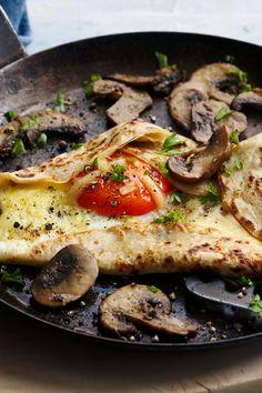 Rick Stein's savory pancakes Savoury Pancake Recipe, Savory Pancakes, Savory Breakfast, Pancakes And Waffles, Breakfast Recipes, Pancake Recipes, Egg Recipes, Dinner Recipes, Great British Food