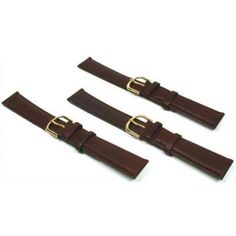3 Watch Bands Leather Brown Padded Calf 18mm Part. This is a new set of 3 brown padded calf leather watch bands. The inside of the bands are genuine nubuck leather. These brown leather bands have yellow gold plated buckles and single row stitching. These are perfect for high-quality brand name watches such as Rolex, Cartier, Piaget, Breitling and Bulova. The carefully selected specialized leather with texture and shine and decorative stitching is very attractive with all types of watches.