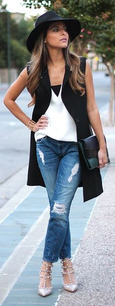 Black Ann Taylor Vest Outfit Idea by The Girl From Panama