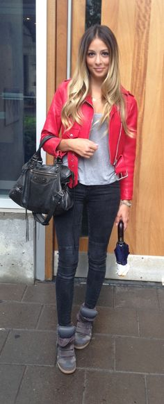 Acne red leather jacket, Isabel Marant sneakers, Balenciaga bag, zara jeans and theory tank top