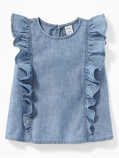 Ruffled chambray sleeveless top for baby old navy baby girl closet chemisier dress mode robadan bzgl fermuarl ayrobin tunik kiremit stok kodu 214 1432 Frock Design, Baby Dress Design, Kids Frocks Design, Baby Frocks Designs, Dresses Kids Girl, Kids Outfits, Baby Dresses, Dress Girl, Old Navy Baby Girl