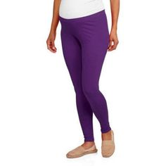 Faded Glory Maternity Essential Knit Leggings, Size: Large, Purple