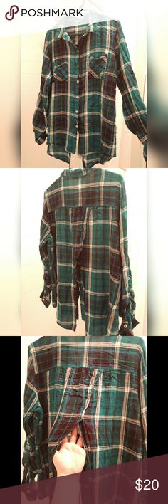 Charlotte Russe Green Plaid Split Back Shirt Excuse the wrinkles! I don't own an iron... Very cute plaid button down shirt from Charlotte Russe. The back is split open around the middle so if you want, you can wear a tank top underneath. Only worn once. Other than the wrinkles it's in perfect condition. Charlotte Russe Tops Button Down Shirts