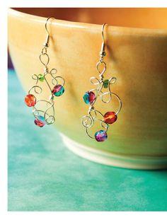 Freeform Wire Art Jewelry - Confetti Curl Earrings beauty image