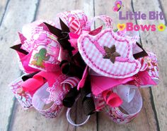 Pink Monkey Cowgirl Hat Feltie Boutique Funky Bow by LittleBitBows