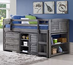 Give your child an open bedroom floor plan with this twin louver modular loft bed set. Designed with slats, you just need to add your own mattress. And the large under bed storage area is great for organizing with a three-drawer chest, two-drawer chest with small bookshelf, and large bookshelf on the end of the bed. From Donco Kids. Bunk Beds With Stairs, Kids Bunk Beds, Kids Single Beds, Twin Bedroom Sets, Single Bedroom, Teen Bedroom, Mid Sleeper Bed, Low Loft Beds, Bedroom Floor Plans