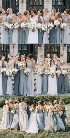 Shades of grey mismatched bridesmaid dresses. #winterwedding #bridesmaidsdress #weddingideas #bridesmaiddresses