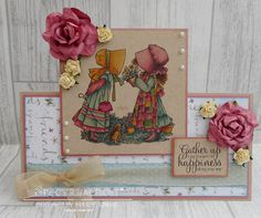 Card made using Crafter's Companion Hollie Hobbie – A Bouquet of Happiness stamp. coloured with Spectrum Noir Colouring System Markers – Vintage set - Designed by Marie Jones Spectrum Noir, Holly Hobbie, Alcohol Markers, Crafters Companion, Clear Stamps, Card Making, Bouquet, Happiness, Paper Crafts