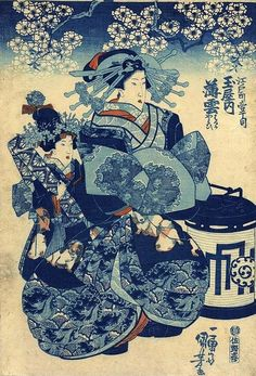 Utagawa Kuniyoshi 歌川 国芳 (1798-1861) Edo Chome, Itsu Chome series - Tama-ya uchi Usugumo 薄雲 (Thin clouds) (Usugumo of the Tama-ya) - Japan - c.1835