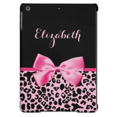 A trendy and stylish pink and black leopard print Barely There iPad Air Case with a cute hot pink ribbon bow wrapped like a present. Personalize this chic animal pattern cellphone cover by adding your name. Perfect designer women's fashion for the fashionista in any teen girly girl! Flat printed image, not actual ribbon.