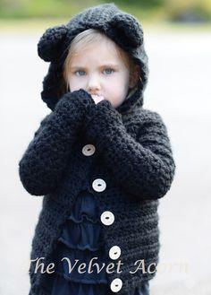 GANCHILLO PATTERN-The Becklyn Bear suéter (2, 3/4, 5/6, 7/8, 9/10, 11/12, pequeño, medio, tallas grandes)