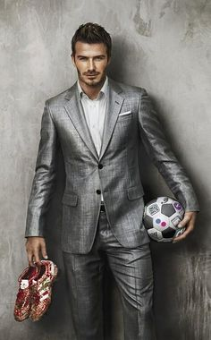 beckham in a silver suit and white custom dress shirt
