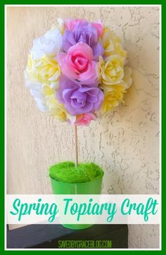 Spring time topiary craft that costs less than $10 to make! It's a dollar store craft!