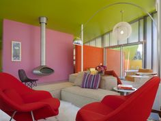 colorful + modern living room on Shelter Island!