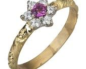 Vintage Floral Diamond & Tourmaline Engagement Ring in 18k Yellow Gold