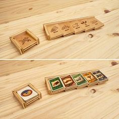 Custom Laser Engraved Settlers of Catan card holders Features: - Maple plywood and hand finished with Polyurethane - choose stain colour - Unique card holders for Settlers of Catan board game - Easy and convenient way to keep cards organized during game play Custom Upgrade Option: -