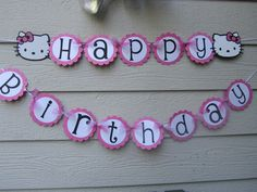 Hello Kitty Birthday Banner Pink Black Can be Customized With Name. $24.99, via Etsy.