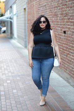 (Plus Size) Peplum, Skinnies & Strappy Flats (Girl With Curves // Tanesha Awasthi)
