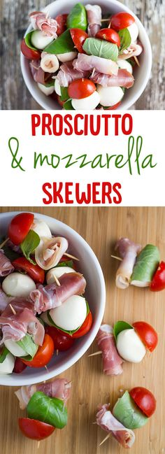 Prosciutto and Mozzarella Skewers (or Prosciutto and Bocconcini Skewers as they are called in Australia) are the absolute bomb diggity. Christmas Entrees, Christmas Appetizers, Christmas Recipes, Christmas Lunch Ideas, Christmas Nibbles, Skewer Appetizers, Appetisers, Brunch Recipes, Appetizer Recipes