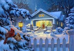 Charting Creations Christmas Bungalow - Artwork © Corbert Gauthier 2018 Used under license from MHS Licensing 25 Count, X cm 18 Count, X cm 14 Count, X cm This chart uses 87 DMC colours and is x Floss Shopping Guide Christmas Scenery, Christmas Art, Christmas And New Year, Winter Christmas, Xmas, Winter Holidays, Jigsaw Puzzle Store, Free Winter Wallpaper, Welcome Winter