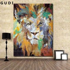 GUDI- Large modern hand-painted oil painting abstract art deco lion Unframed