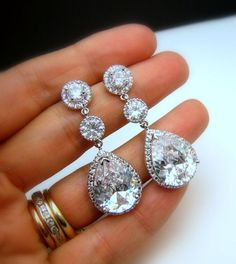 Bridal earrings wedding earrings bridal jewelry wedding jewelry clear white teardrop cubic zirconia round cz post via Etsy