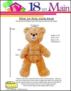 How to size a pattern 18 On Main Bear E. Lovebug Plush Toy Clothes Pattern 15 to 18 inch Build-A-Bear Bears | Pixie Faire #18onMain #BuildaBear
