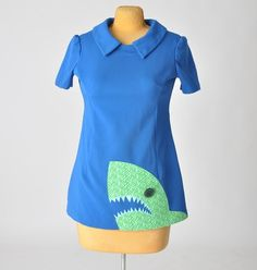 shark tunic womens vintage shirt jawesome by aorta on Etsy - StyleSays