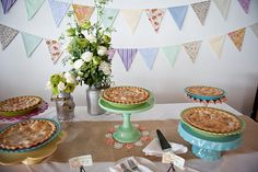 Food & Drink - simple but cute pie buffet for dessert