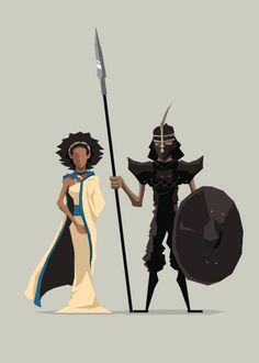 Missandei and Grey Worm. Jerry Liu - Game of Thrones - fan art.