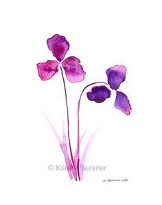 Purple Orchids watercolor flower giclee fine art print by Karen Faulkner 20.00