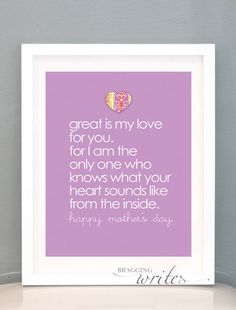 Personalized {PRINTABLE} Mother's Day gift idea! She's going to cry when she sees this in a frame. You can customize for multiple siblings as well, with each sibling's name on the bottom! Too sweet! by braggingwrites, $15.00