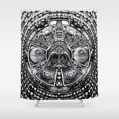Buy Shower Curtains featuring Aztec Darth Space lord black and white pencils sketch by Greenlight8. Made from 100% easy care polyester our designer shower curtains are printed in the USA and feature a 12 button-hole top for simple hanging.