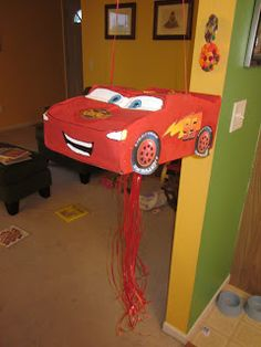 Because I Said So (and Other Mommyisms): DIY Pull-String Lightning McQueen Pinata Cars Birthday Parties, Birthday Celebration, Birthday Ideas, Car Pinata, Lightning Mcqueen, Third Birthday, First Birthdays, Craft Projects, Crafts