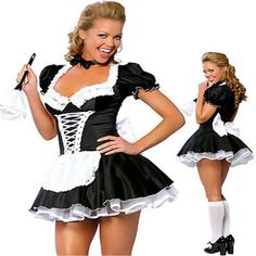 French Maid Halloween, French Maid Costume, Maid Outfit, Maid Dress, Sweatshirt Outfit, Costume Adulte Halloween, Halloween Costumes, Women Halloween, Halloween Party