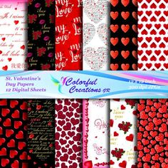 20 % OFF SALE Valentine's Day Digital Papers, Valentine's Scrapbook Paper, Valentine's Digital Image, Background, Personal & Commercial Use Digital Papers, Digital Stamps, Business Stationary, Love To Shop, Photoshop Elements, Digital Image, Scrapbook Paper, Valentines Day, Commercial