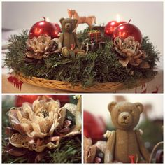 My teddy bear advent wreath. Every year I make 4 advent wreaths. One for my daugther and her boyfriend who helps me with uploading these pictures to Pinterest. Second to my son and his wife and 2 years old cutie. Third for my best friend and fourth for me. As you can imagine, my advent wreath must always have at least one bear inside. I also love horses and blossoms.  I wish you all Merry Christmas!