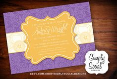 Floral Yellow and Purple Baby Shower Bridal by SimplySocialDesigns, $18.00