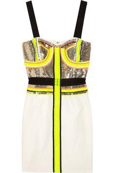 Sass & bide|Stripe Effect embellished silk-blend dress
