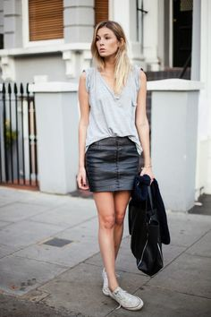 tee. leather skirt. chucks. awesome. Camille in London. #CamilleOverTheRainbow