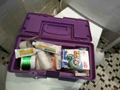 """Our """"Boo-Boo Box.""""  A plastic, dollar store, kid-sized toolbox that lives in our hall bath closet.  Similar to a First Aid kit, but without all that stupid random stuff that you'll never actually need unless you're out hunting wild poisonous snakes while catching bees while wearing no sunscreen... you get my point.  Stock it with the stuff your family uses the most.  Kids love to grab the """"Boo-Boo Box"""" when someone is in need."""