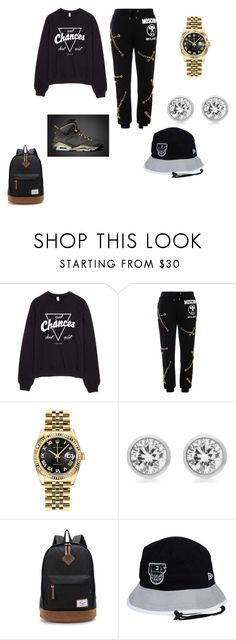 """Gold"" by arkward-poop on Polyvore featuring Moschino, Rolex, Michael Kors, New Era, women's clothing, women's fashion, women, female, woman and misses"
